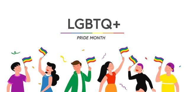 Le persone tengono la bandiera arcobaleno e transgender lgbt durante la celebrazione del mese dell'orgoglio contro la violenza