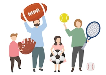 People holding a variety of sports equipment
