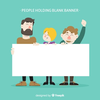 People holding banner