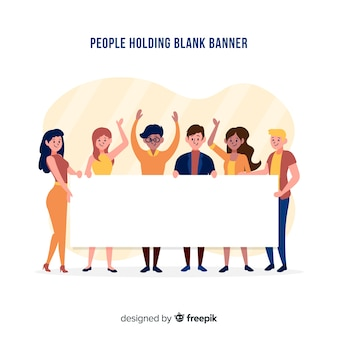 People holding banner Vector | Free Download