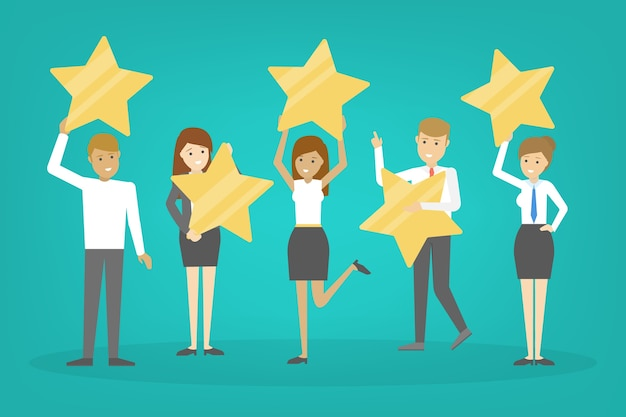 People holding big golden star as metaphor of rating