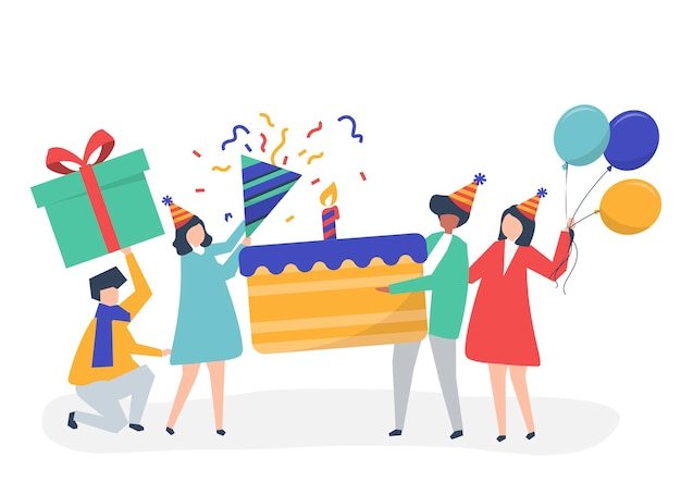 People holding birthday party icons