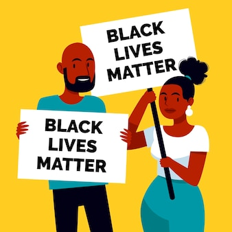 People holding black lives matter placards