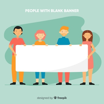 People holding blank banner background