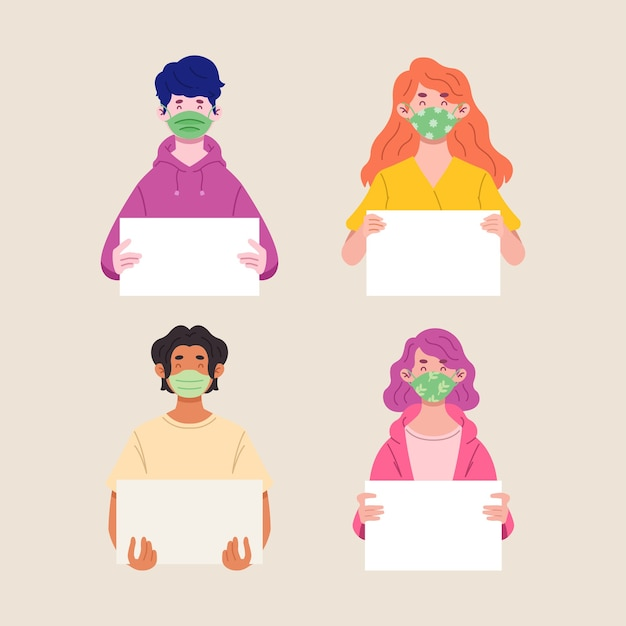 People holding blank paper set illustration