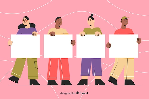 People holding blank placard collectio