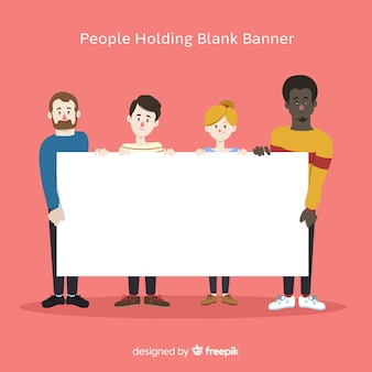 People holding blank sign background