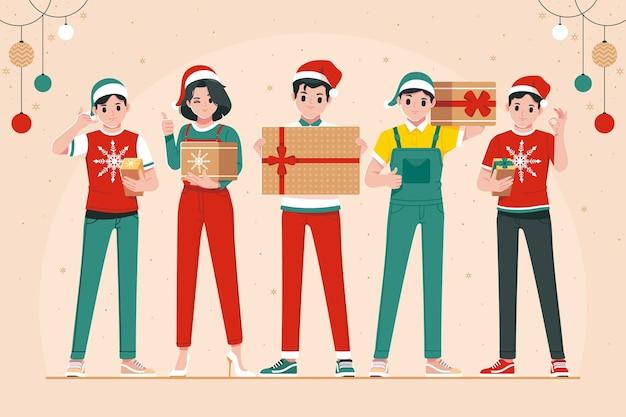 Люди держат рождественский подарок иллюстрации фон