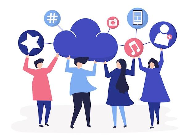 Люди, облака и значки социальных сетей
