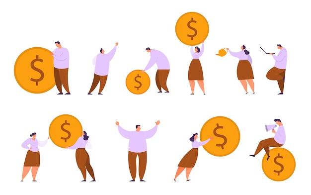 동전 세트를 들고 사람들. 자본 성장 및 금융 투자에 대한 아이디어. 사업 이익. 삽화