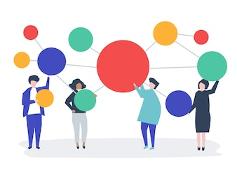 People holding connected copy space circle icons