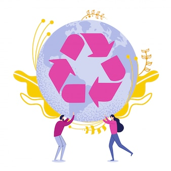 People holding earth globe with recycling arrows.