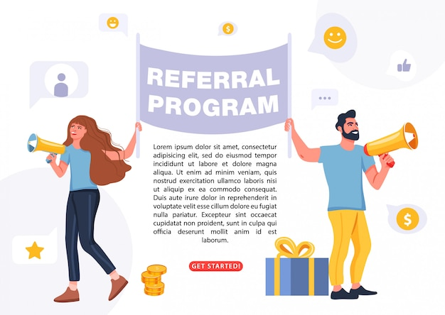 People holding a flag with referral program word.