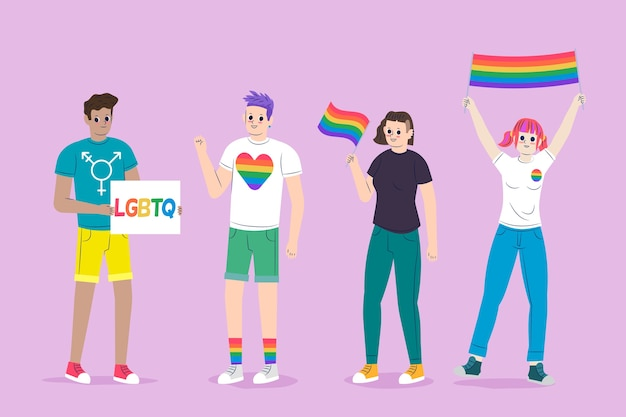 People holding flags celebrating pride day illustration