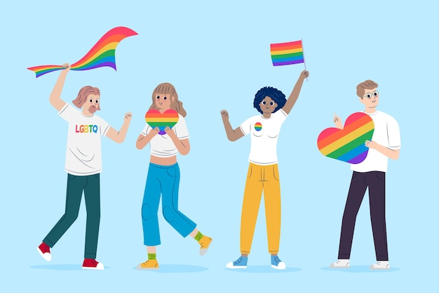 People holding flags celebrating pride day