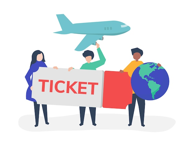 People holding a flight ticket travel related icons