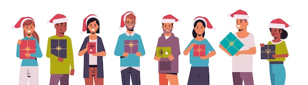 People holding gift present boxes merry christmas happy new year holiday celebration concept mix race men women wearing santa hats standing together horizontal portrait vector illustration