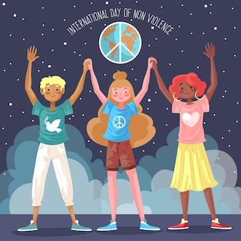 非暴力図の国際デーに手を繋いでいる人々