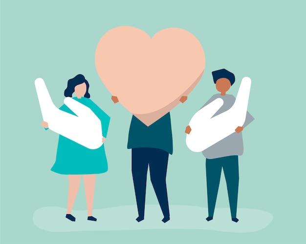 Люди, держащие значки сердца и руки
