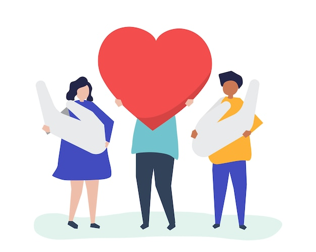 People holding heart and hand icons