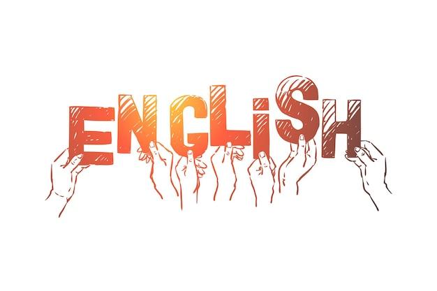 手に手紙を持って、国際的な言語イラストを学ぶ人々