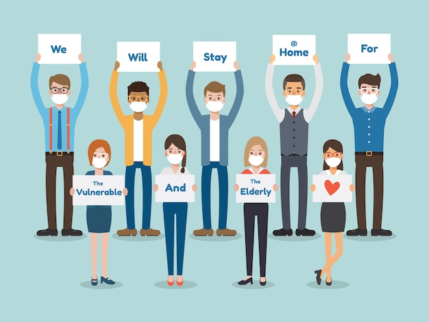 People holding poster. stay home concept. virus spread awarness