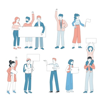 People holding posters cartoon illustration. demonstration, protest, activism, voting concept.
