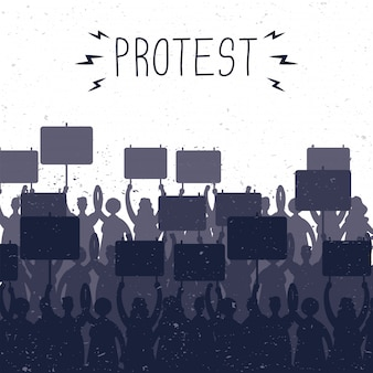 People holding protest banners silhouettes scene illustration