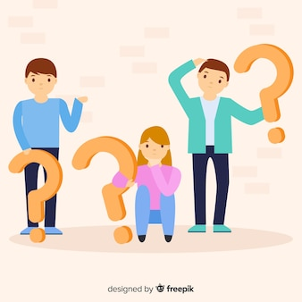 People holding question marks background