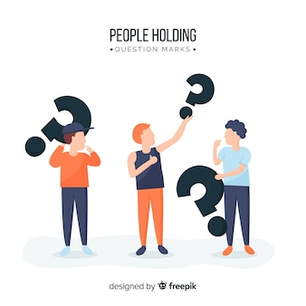 People holding question marks
