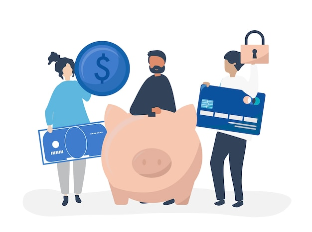 貯蓄とセキュリティのアイコンを持つ人々のイラスト