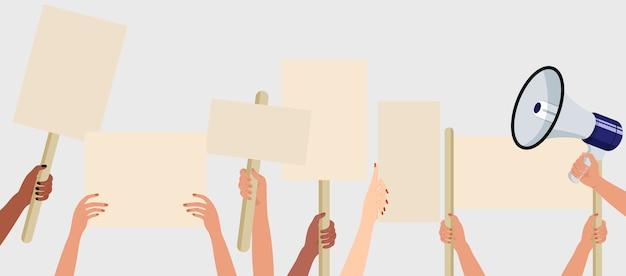 抗議デモまたはピケットにサイン、バナー、プラカードを持っている人。抗議者の群衆。選挙運動のコンセプトです。
