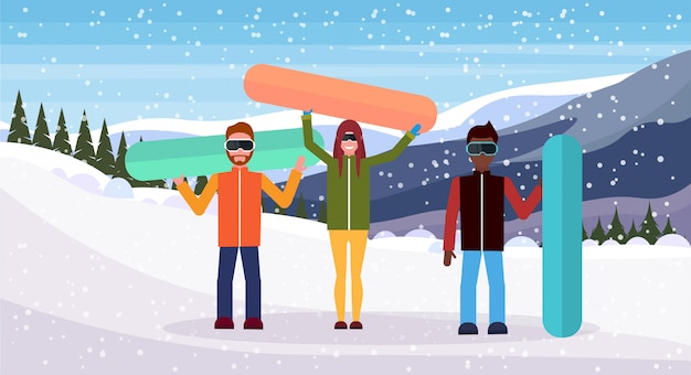 People holding snowboarding boards