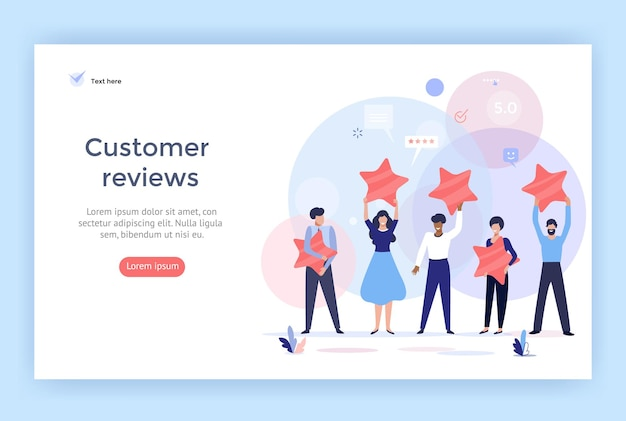 People holding stars customer reviews concept illustration