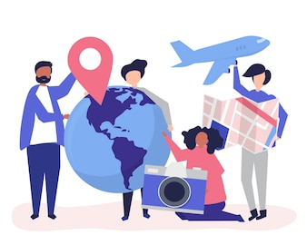 People holding travel related icons