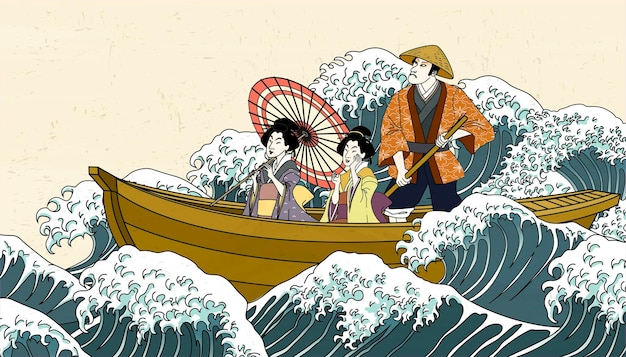 People holding umbrella on boat in ukiyo-e style