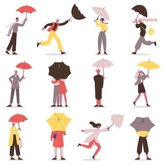 우산을 들고 있는 사람들. 우산을 쓴 남성과 여성의 가을 캐릭터, 비오는 날 산책 벡터 일러스트레이션 세트. 우산 아래 걷는 만화 사람들