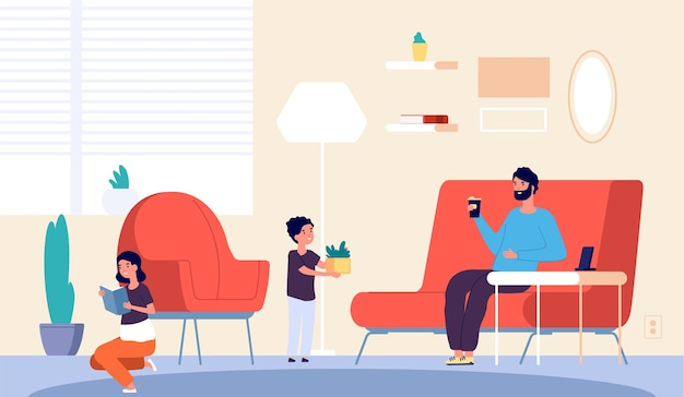 People at home. father son daughter in living room. isolation period or quarantine. girl reading book, boy planting and man drinking coffee. vector illustration. father with son and daughter