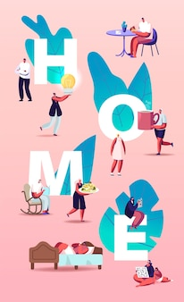 People at home illustration. characters eating, cooking food, read books and making favorite hobbies