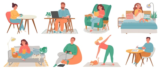 People at homes. men and women relax, work, do exercise and hobby in room interiors. quarantine characters, stay at home concept vector set. woman and man indoor apartment relax illustration