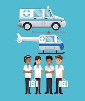 人々の病院の救急車ヘリコプター