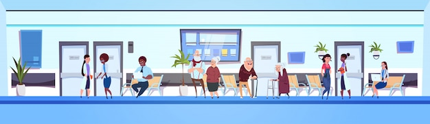 People in hospital hall patients and doctors team in clinic waiting room horizontal banner