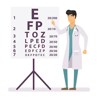 People in hospital uniform standing near eye test chart.
