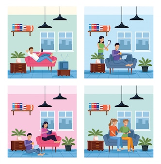 People in house places scenes