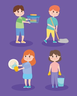 People and household chores icon set