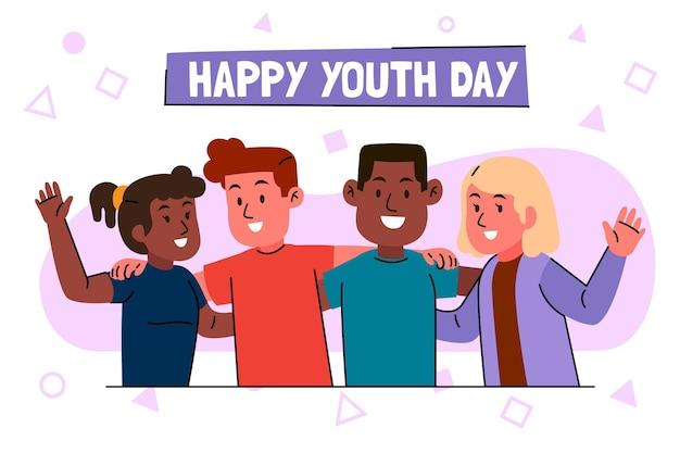 Люди обнимают друг друга в день молодежи