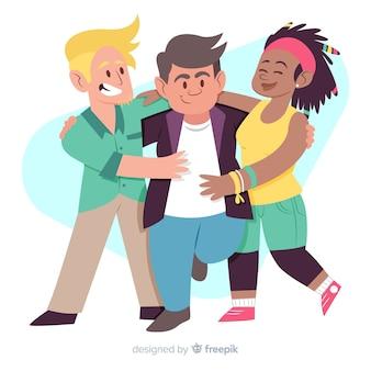 Люди обнимаются для концепции дня молодежи