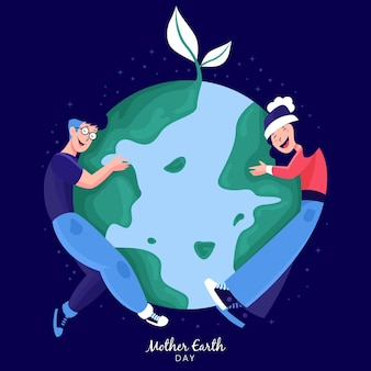 People hugging green earth