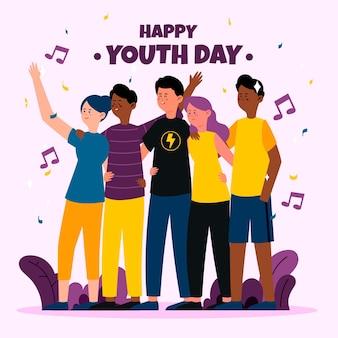 청소년의 날 개념에 포옹하는 사람들