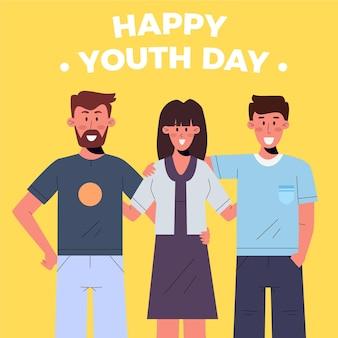 若者の日に抱き締める人々